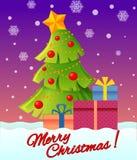 Weihnachts- und des neuen Jahresgrußkarte mit Weihnachtsbaum und Geschenken Stockfotos