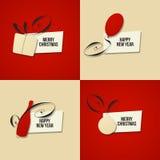 Weihnachts- und des neuen Jahresgrußkarte. Satz Vektoren Stockbild