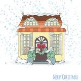 Weihnachts- und des neuen Jahreshauseinladungskarte Stockfotografie