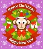 Weihnachts- und des neuen Jahreshintergrund mit Affen Lizenzfreies Stockfoto