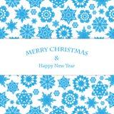 Weihnachts- und des neuen Jahreshintergrund mit Schneeflocken Lizenzfreie Stockfotos