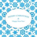 Weihnachts- und des neuen Jahreshintergrund mit Schneeflocken und Platz FO Stockbild