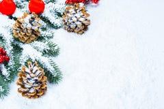 Weihnachts- und des neuen Jahreshintergrund mit Weihnachtsbaumasten auf Schnee und Dekorationen Freier Raum Lizenzfreie Stockfotografie
