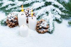 Weihnachts- und des neuen Jahreshintergrund mit Weihnachtskerze und Weihnachtsbaumasten Stockfoto