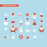 Weihnachts- und des neuen Jahresikone gesetzter Feiertag Santa Claus Snowman lizenzfreie abbildung