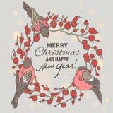 Weihnachts- und des neuen Jahresillustration mit Kranz Lizenzfreie Stockbilder