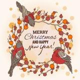 Weihnachts- und des neuen Jahresillustration mit Kranz Lizenzfreie Stockfotografie