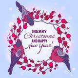 Weihnachts- und des neuen Jahresillustration mit Kranz Stockbilder