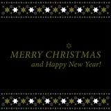 Weihnachts- und des neuen Jahreskarte - Gold- und Weißsterne Lizenzfreie Stockfotografie