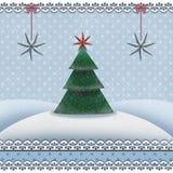 Weihnachts- und des neuen Jahreskarte mit einem Tannenbaum in einer schneebedeckten Landschaft vektor abbildung