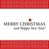 Weihnachts- und des neuen Jahreskarte mit weißer Verzierung Lizenzfreie Stockbilder