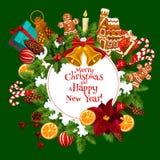 Weihnachts- und des neuen Jahreskarte mit Weihnachten winden Stockbild
