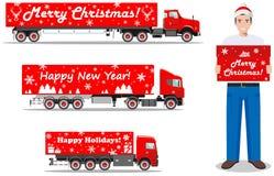 Weihnachts- und des neuen Jahreslieferung Satz der ausführlichen Illustration der Lieferwagen und Lieferbote halten den Kasten lo Stockfotografie
