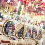 Weihnachts- und des neuen Jahresmarkt in Moskau, Russland Lizenzfreies Stockfoto