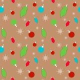 Weihnachts- und des neuen Jahresmuster mit Weihnachtsdekorationen lizenzfreie abbildung
