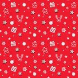 Weihnachts- und des neuen Jahresmusterhintergrund mit Funkelnsternen und dekorativen Elementen stockbilder