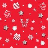 Weihnachts- und des neuen Jahresnahtloser Musterhintergrund mit Funkelnsternen und dekorativen Elementen stockfoto