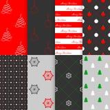 Weihnachts- und des neuen Jahresnahtloser Mustersatz, Vektorillustration stockbild