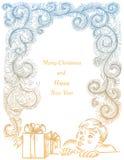 Weihnachts- und des neuen Jahresrahmen mit boyand Geschenkboxen stockfoto