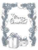 Weihnachts- und des neuen Jahresrahmen mit Geschenkbox lizenzfreies stockbild