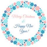 Weihnachts- und des neuen Jahresrunder Rahmen mit Grüßen Lizenzfreie Stockbilder