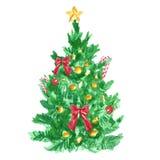 Weihnachts- und des neuen Jahrestannenbaum mit Weihnachtsbaumdeckelstern- und -zuckerstangedekoration lizenzfreies stockfoto
