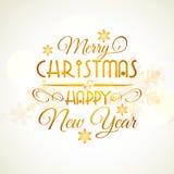 Weihnachts- und des neuen Jahrestypografischer Hintergrund Stockbild