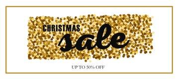 Weihnachts- und des neuen Jahresvektor Verkaufsfahne Konzept mit Geschenken und Goldfunkeln stock abbildung