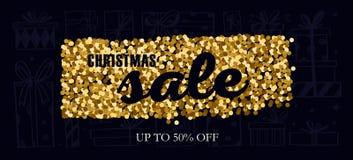 Weihnachts- und des neuen Jahresvektor Verkaufsfahne Konzept mit Geschenken und Goldfunkeln vektor abbildung