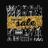 Weihnachts- und des neuen Jahresvektor Verkaufsfahne Konzept mit Geschenken und Goldfunkeln lizenzfreie abbildung