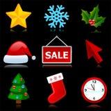 Weihnachts- und des neuen Jahresweb-Ikonen. Stockfotografie