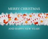 Weihnachts- und guten Rutsch ins Neue Jahr-Girlande und Grenze des Schauens von den Baumasten der weißen Weihnacht verziert mit S vektor abbildung