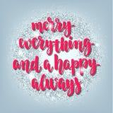 Weihnachts- und guten Rutsch ins Neue Jahr-Grußfeiertage übergeben Beschriftungskarte Lizenzfreies Stockfoto