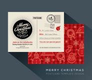 Weihnachts- und guten Rutsch ins Neue Jahr-Urlaubspostkartehintergrund für Parteieinladungskarte Lizenzfreie Stockfotos