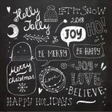 Weihnachts-und neues Jahr-Gekritzel eingestellt Lizenzfreie Stockfotos