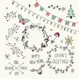 Weihnachts-und neues Jahr-Gekritzel eingestellt Lizenzfreies Stockbild