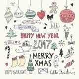 Weihnachts-und neues Jahr-Gekritzel eingestellt Stockfoto