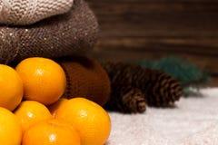 Weihnachts-und neues Jahr-Mandarinen im Schnee nahe bei den mehrfarbigen Strickjacken, den Kiefernkegeln und dem Weihnachtsbaumas Stockfotografie