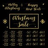 Weihnachts-und neues Jahr-Verkaufs-Briefgestaltungs-Satz Stockfotos
