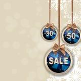 Weihnachts-und neues Jahr-Verkaufs-Hintergrund, Rabatt-Kupon-Schablone Stockbilder