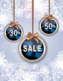 Weihnachts-und neues Jahr-Verkaufs-Hintergrund, Rabatt-Kupon-Schablone Lizenzfreies Stockbild