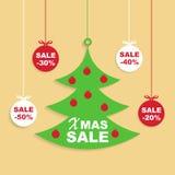 Weihnachts-und neues Jahr-Verkaufs-Hintergrund, Rabatt-Kupon-Schablone Stockfotos