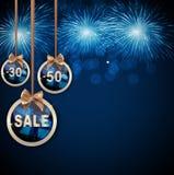 Weihnachts-und neues Jahr-Verkaufs-Hintergrund, Rabatt-Kupon-Schablone Lizenzfreie Stockfotos