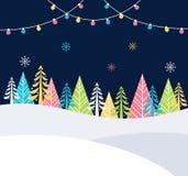 Weihnachts-und Winterurlaub-Ereignis-festlicher Hintergrund mit Schnee, Bäumen und Weihnachtslichtern Vektorplakatschablone Lizenzfreie Stockfotos