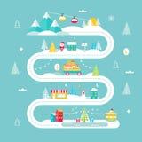 Weihnachts-und Winterurlaub-Straßenkarte Lichter, Stadt, Markt, Gebirgsdrahtseilbahnen und Sankt Auch im corel abgehobenen Betrag Lizenzfreie Stockfotografie