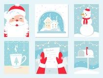 Weihnachts-und Winterurlaub-Vektor-Karten Santa Claus, Schnee-Kugel, Schneemann, Buchstabe zu Sankt und Briefkasten Lizenzfreie Stockfotografie