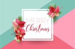 Weihnachts-Winter-Poinsettia-Blumen-Fahne, grafischer Hintergrund, Blumen-Dezember-Einladung, Flieger oder Karte Moderne Titelsei Lizenzfreies Stockfoto