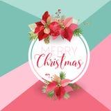 Weihnachts-Winter-Poinsettia-Blumen-Fahne, grafischer Hintergrund, Blumen-Dezember-Einladung, Flieger oder Karte Moderne Titelsei Lizenzfreie Stockfotos