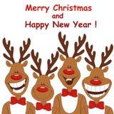 Weihnachtsabbildung des Rens mit vier Karikaturen. Lizenzfreie Stockbilder