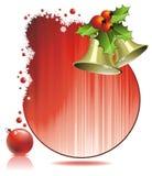 Weihnachtsabbildung mit Stechpalme und Glocken Stockbild